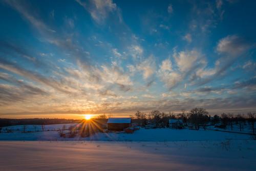 winter sunset sun snow barn maryland d800