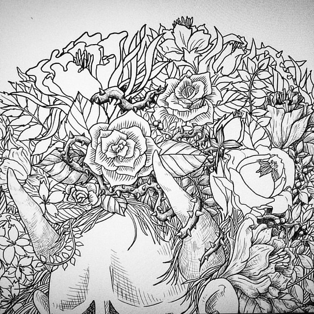 40% done. #floral #flower #ink #instaart #instaink #black #blackandwhite #draw #doodle #drawing #inked #japan #traditional #pen