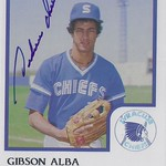 1986 ProCards - Gibson Alba #NN / #1 (Pitcher) - Autographed Baseball Card (Syracuse Chiefs / International League) (card #1)