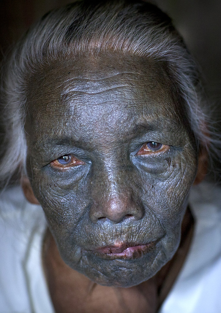 Tribal Chin Woman From U Pu Tribe With Tattoo On The Face
