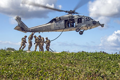 In this file photo, EOD technicians from various nations demonstrate helicopter rope suspension technique cast procedures during exercise Tricrab on Naval Base Guam in 2016. (U.S. Navy/MC3 Alfred A. Coffield)