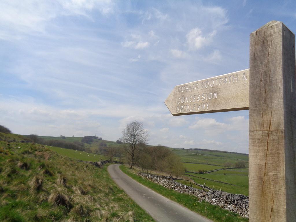 Footpath sign, High Rake near Little Hucklow, Derbyshire
