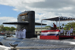 Mark Scott, a city councilman of Corpus Christi, Texas, addresses Memorial Day guests at the Los Angeles-class fast-attack submarine USS City of Corpus Christi (SSN 705) decommissioning ceremony. (U.S. Navy/MC2 Michael H. Lee)