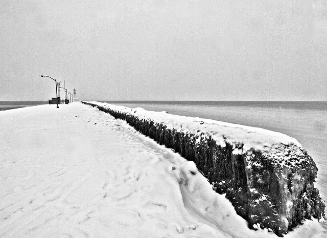 pier in the snow