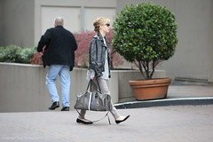 Melissa George, with Goyard monogram travel tote, Vancouver, March 24 2015  3