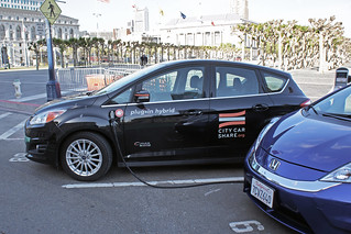 Ford C-Max Energi in service for City Car Share at a public charging station in front of San Francisco City Hall | by mariordo59