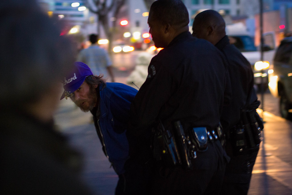 Man being detained near site of Skid Row shooting. March 2, 2015