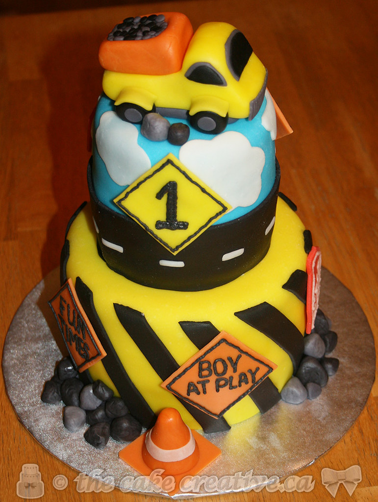 Marvelous Construction Themed Birthday Cake Vanilla Cake With Chocol Flickr Personalised Birthday Cards Veneteletsinfo