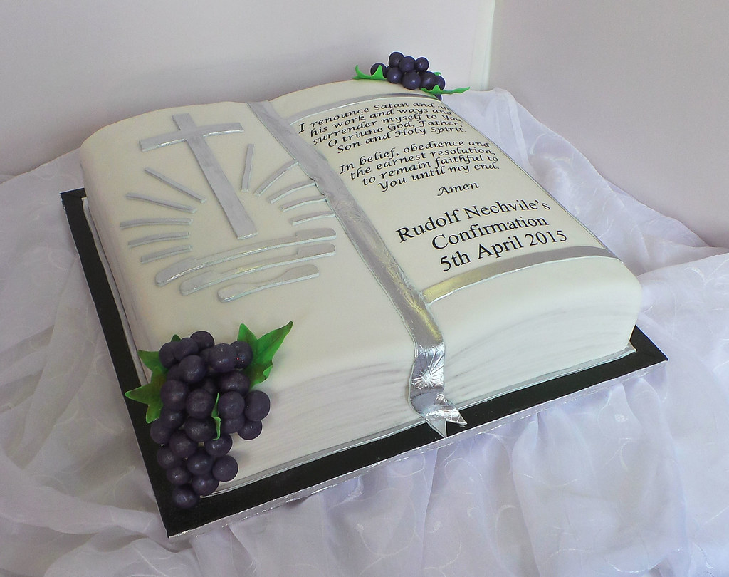 Bible Shaped Confirmation Cake Design Was Brought In By Cl Flickr