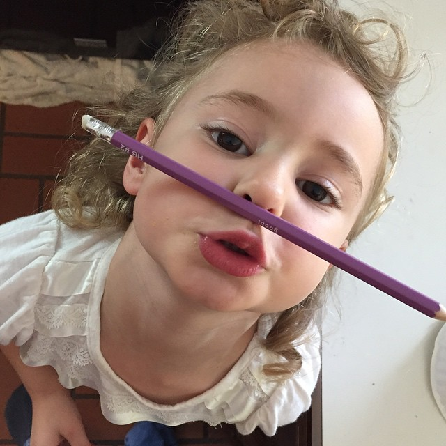 Trying to leant how to balance a pencil on her upper lip!! Can you do that? SHOW ME!! #cute #cuteness #daughter #girl #daughter #daddysgirl #love #life #pencil #lips #mouth #face #balance
