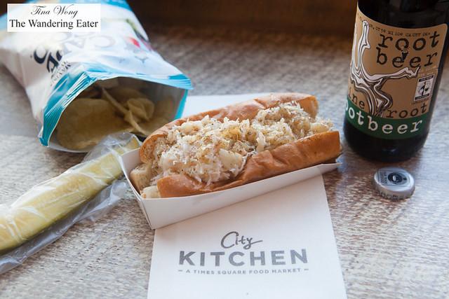 Crab roll, salt & vinegar chips and root beer at Luke's Lobster