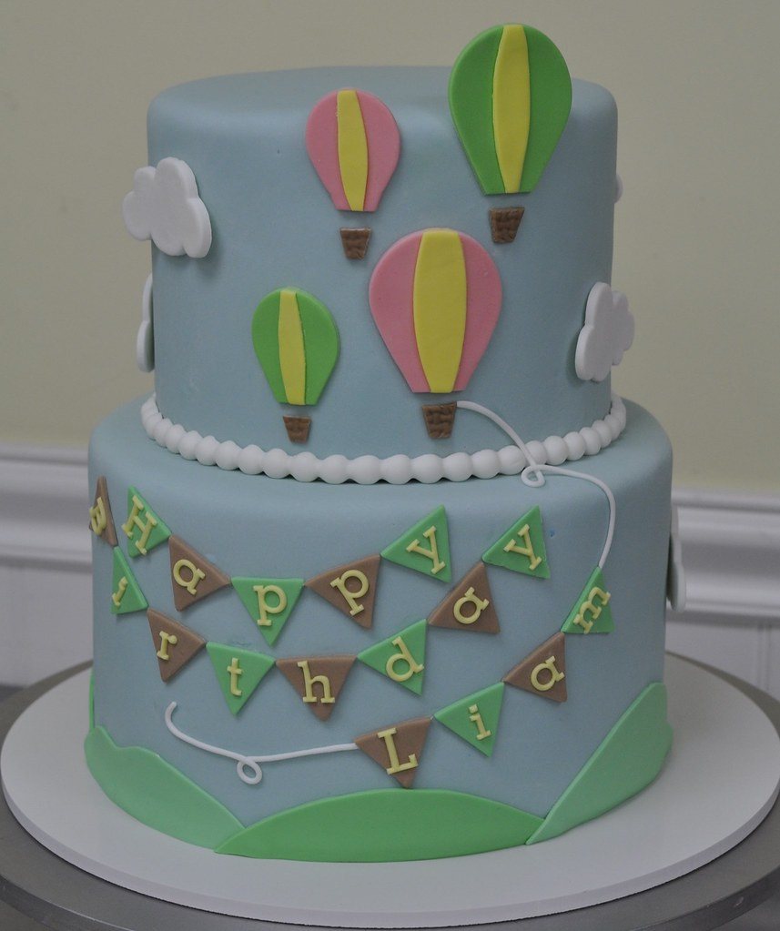 Super Balloon Birthday Cake Hot Air Balloons And Pennants For A Flickr Funny Birthday Cards Online Necthendildamsfinfo