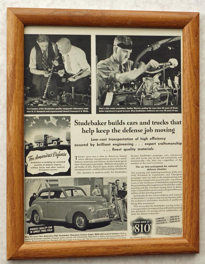 CM039 1942 Studebaker Car Ad Framed DSC04417