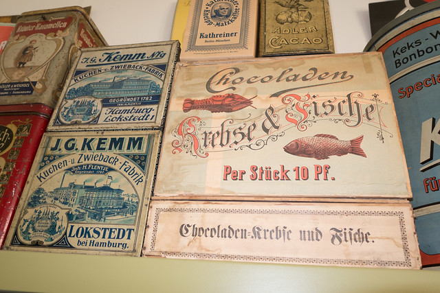 Antique cookie, cracker, and chocolate boxes