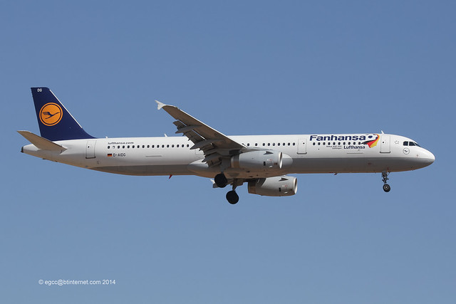D-AIDG - 2011 build Airbus A321-231, one of the Lufthansa 2014 World Cup 'Fanhansa' jets