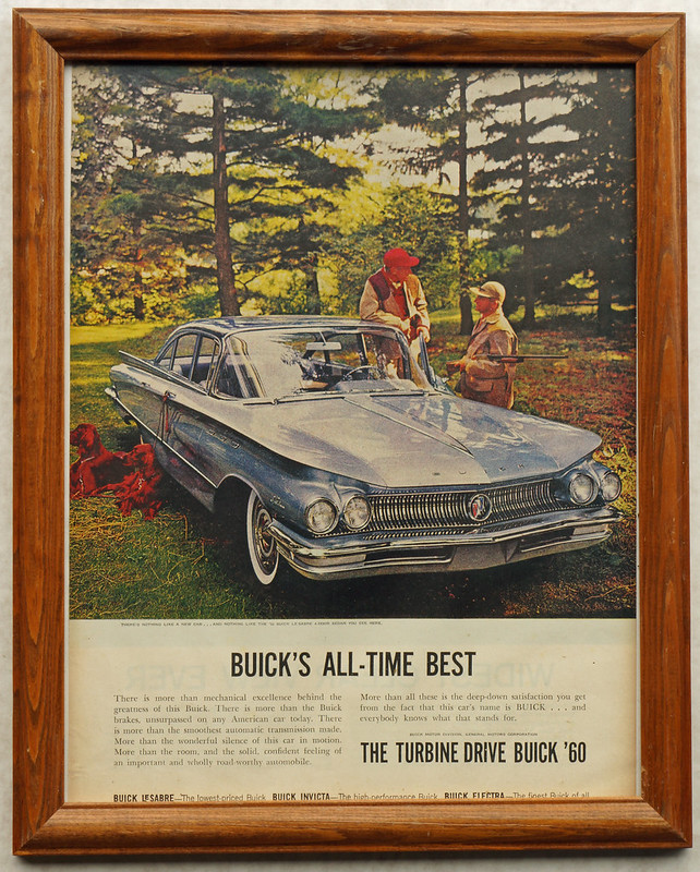 CM067 Buick 1960 Car Ad with Hunters and Dogs Framed DSC04146