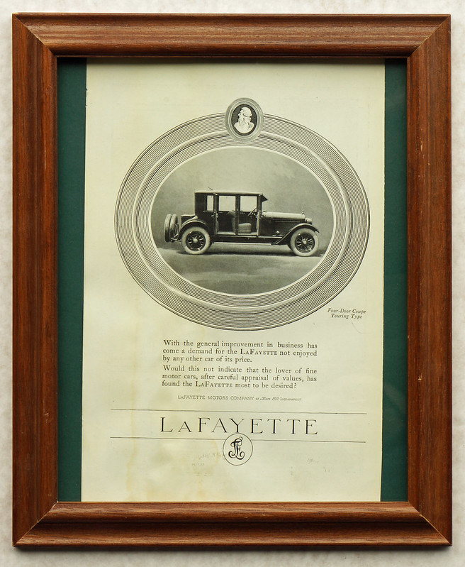 CM059 1922 Lafayette Four Door Coupe Touring Ad Framed DSC04158