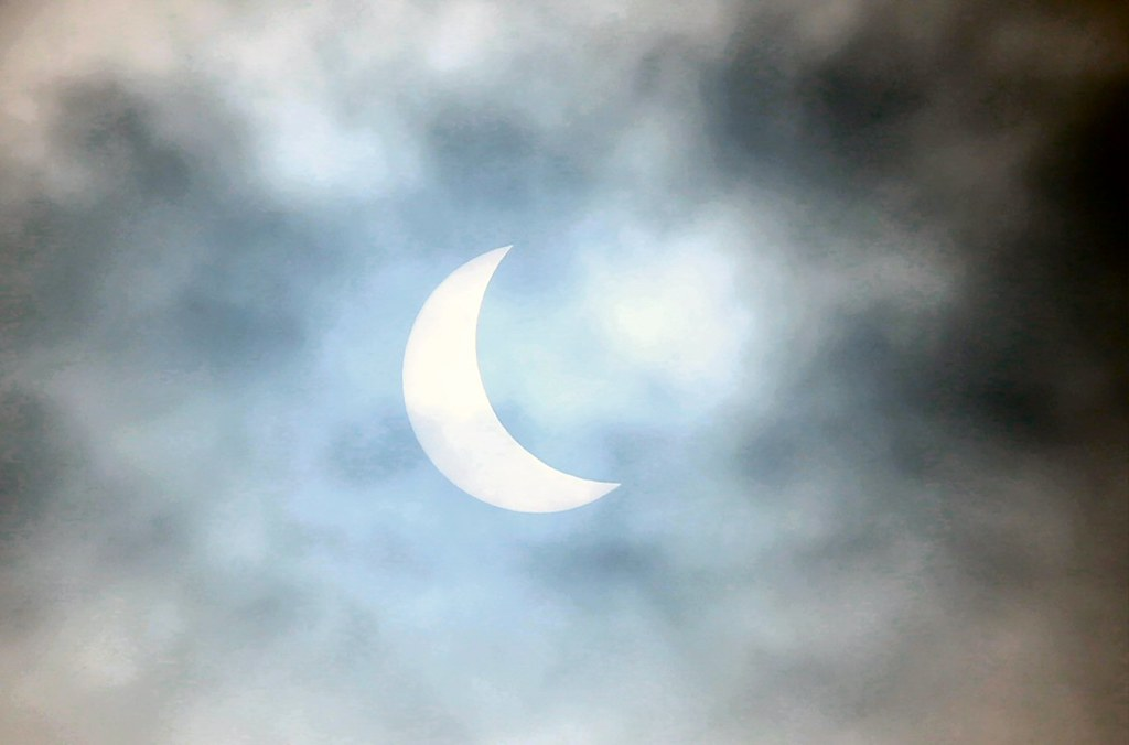 20th March 2015. 9.14 am Partial Solar Eclipse at Darfield, South Yorkshire.