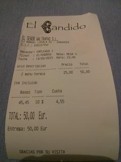 Zaragoza | El Bandido | Ticket | by moverelbigote