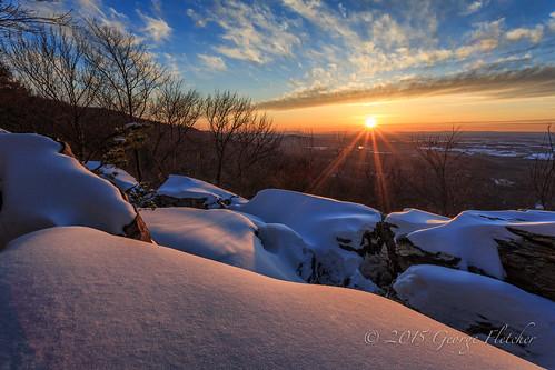 trees sunset sun snow virginia rocks unitedstates bearsden bluemont applachiantrail