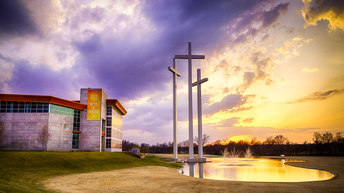city travel sunset church water stream unitedstates outdoor arkansas rogers hdr geekfoto