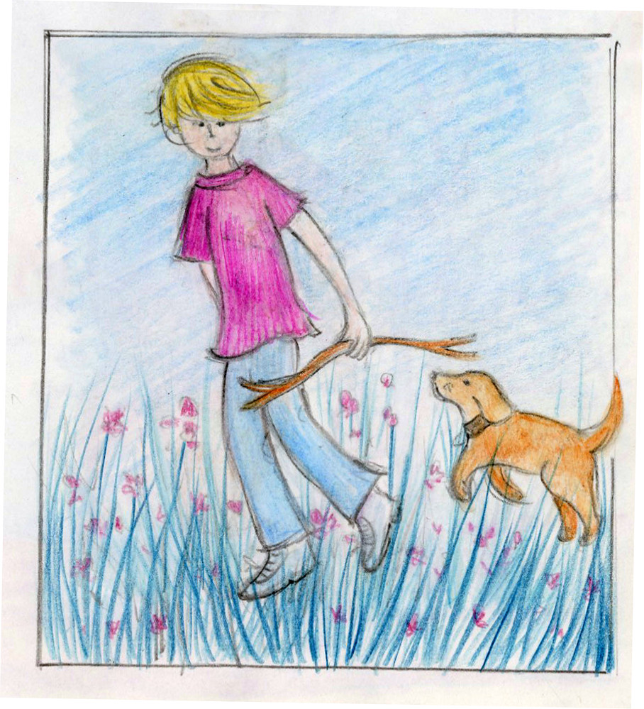 Boy with dog by helen e martin