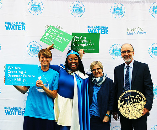Left to Right: Public Affairs Director Joanne Dahme, Water Woman, Philadelphia Water Commissioner Debra A. McCarty,  and EPA Region 3 Water Protection Division Director Jon M. Capacasa