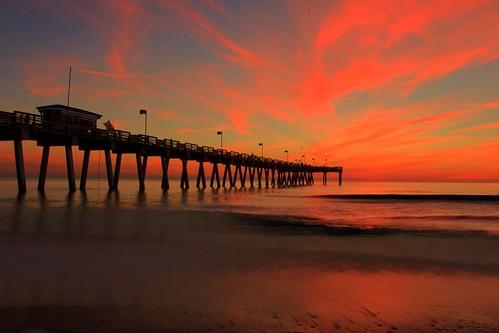 sunset sky beach silhouette canon pier florida