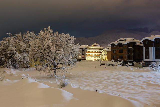 Twilight in the small mountain city Bansko in Bulgaria