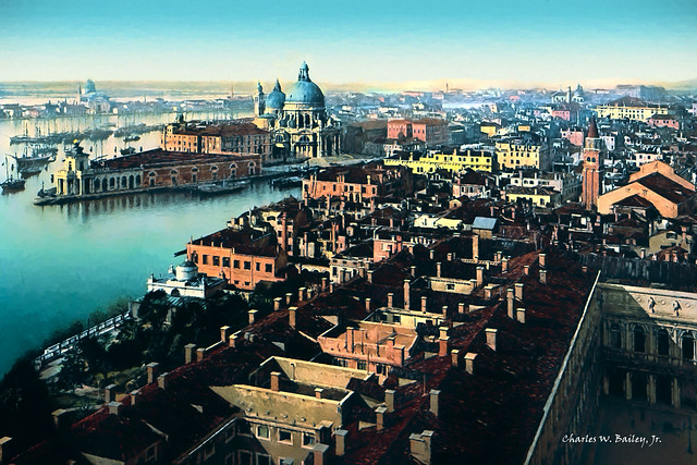 Digital Oil Painting of Venice Seen from the Campanile di San Marco by Charles W. Bailey, Jr.