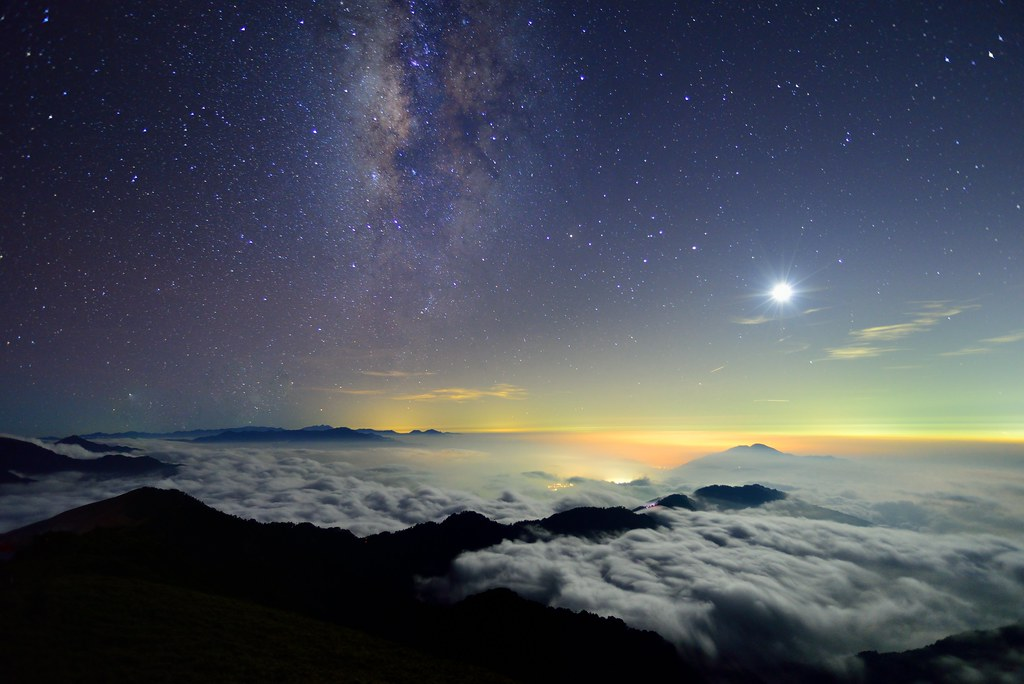 Moon and Galaxy, Mountain Hehuan,合歡山,台灣
