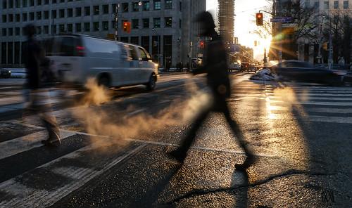 street city light sunset shadow urban toronto motion cars crossing pedestrian steam walkway mariannaarmata p1230049