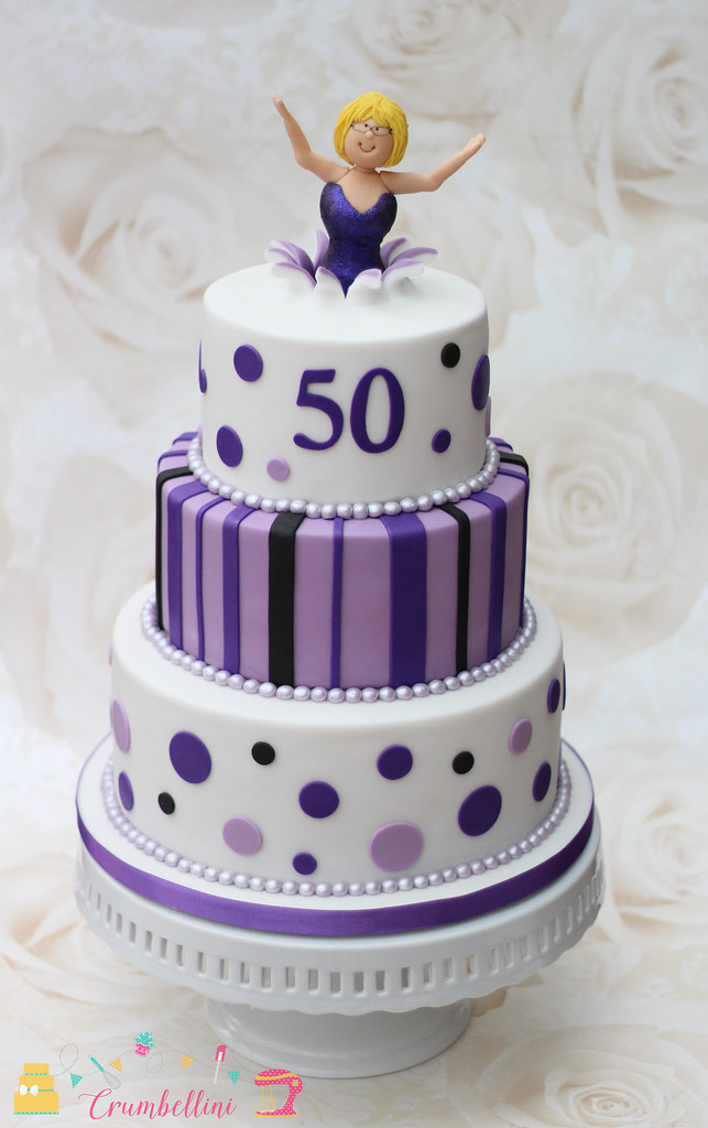 Awesome Purple 50Th Tiered Birthday Cake Purple Spotty And Striped Flickr Personalised Birthday Cards Rectzonderlifede