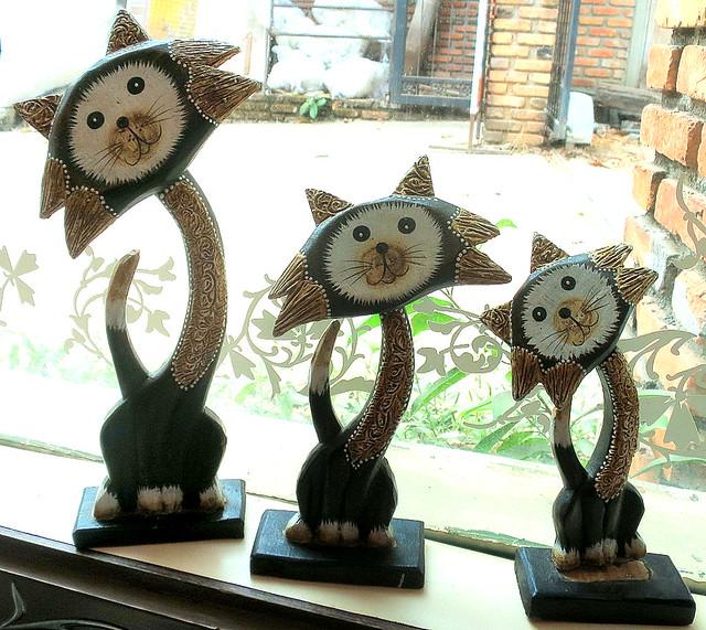 Cat wood carvings