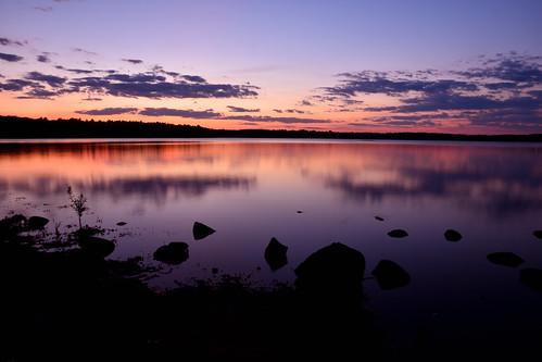 lake nature sunset landscape outdoor purple sky
