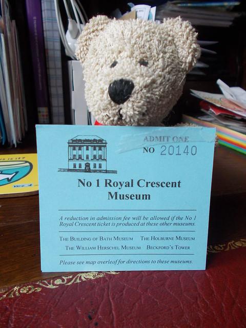 Souvenirs: Ticket. No. 1 Royal Crescent Museum, Bath, c.2007.