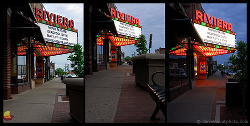 trio collage light transition bluehour illumination natural artificial sidewalk northtonawanda ny newyork buffalo suburb marquee historical restores riviera theatre theater cityscape urban photography nikon d200 716 etbtsy