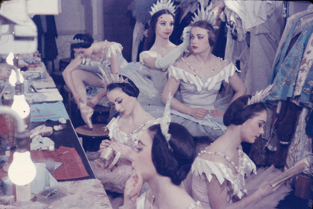Photograph of ballet dancers backstage before a performance of 'Cinderella' by The Royal Ballet in 1960 at the Royal Opera House, Covent Garden