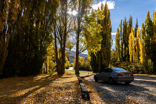 autumn trees newzealand sky car clouds landscape clyde shadows scene hills autumncolours southisland centralotago autumncolour cluthariver manuherikiavalley tripdownsouth populartrees