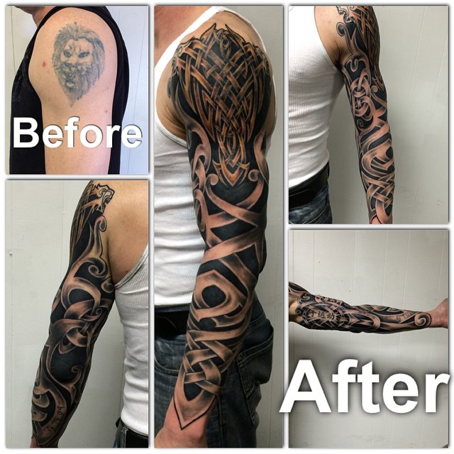 3 4 Tattoo Sleeve Cover: A Cover Up I Got To Do For This Client. Covering A Old Lio