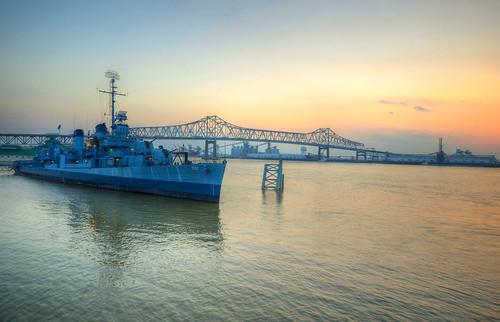 louisiana la south southern uss kidd battleship usskidd sunset mississippi river mississippiriver batonrouge baton rouge batonrougelouisiana historic historical