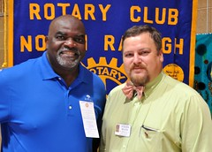 Past President Steven Nelson brought a guest and prospective new member to the club today. Jonathan Nettles is  retired from the Air Force and now teaches in the Wake County Schools.