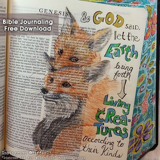 Bible Journaling - Baby Foxes - Genesis 1:24