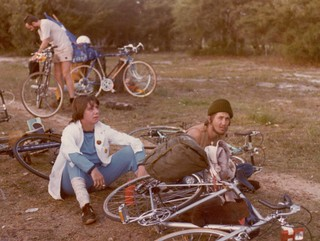Mary Elliott at Sutherland on the way to Lucas Heights nuclear facility - Ride Against uranium May 9, 1981