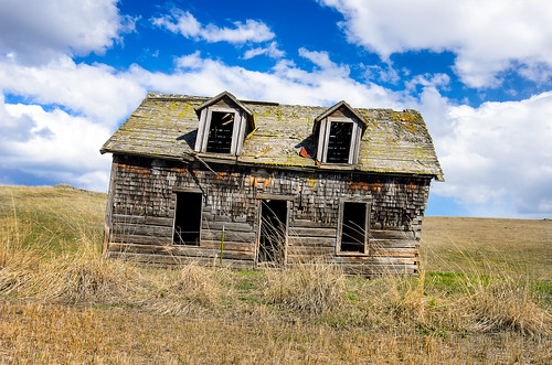 windows sky abandoned field clouds ruins empty homestead prairie derelict