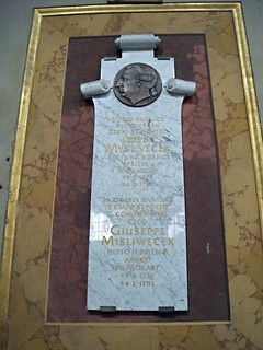 "Cenotaph of the Czech composer Josef Mysliveček, Mozart's friend, called ""The divine Bohemian"" (Prague 1737-Rome 1781) - San Lorenzo in Lucina Church in Rome 