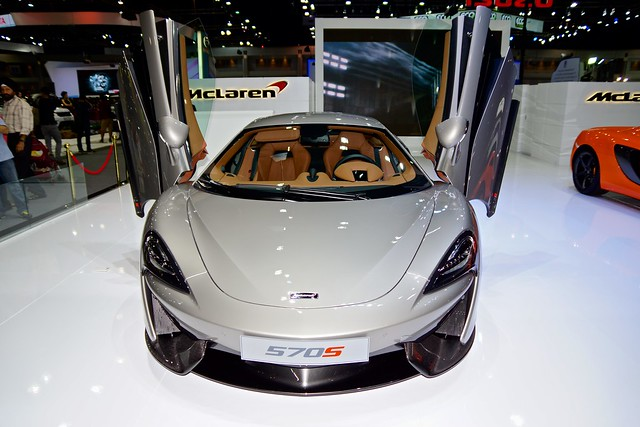 Grey McLaren 570S luxury sports car at the 32nd Thailand International Motor Expo at IMPACT Challenger in Muang Thong Thani, Nonthaburi