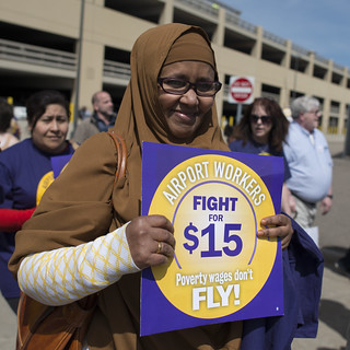 Protester for a $15/hour minimum wage at the MSP airport | by Fibonacci Blue