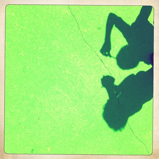 Kid shadows on neon green | by Steve Snodgrass