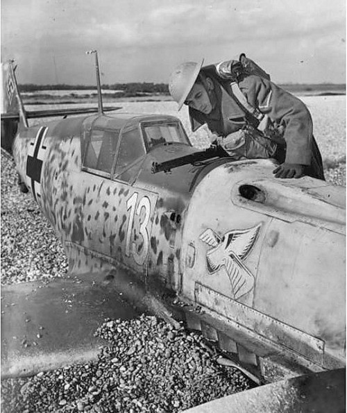 A crashed Messerschmitt Bf-109